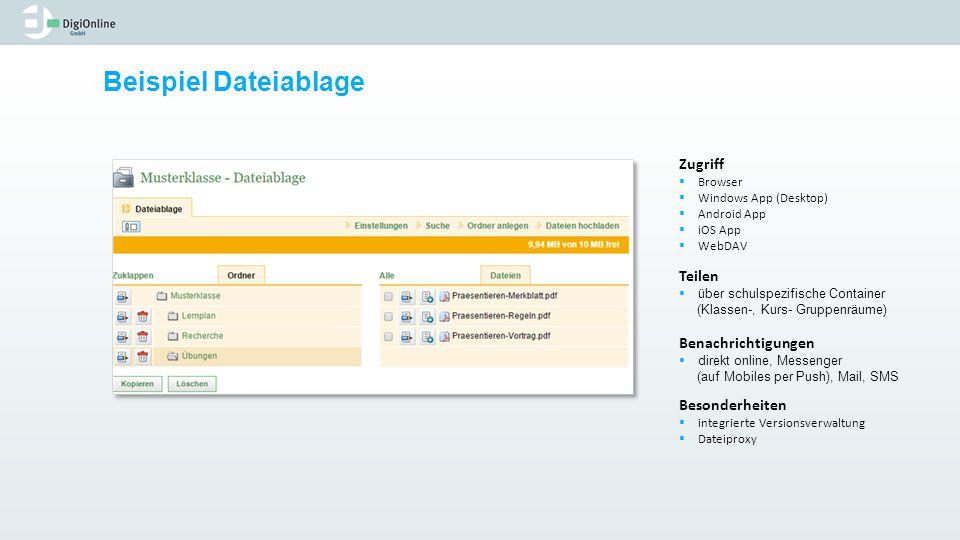 Beispiel Dateiablage Zugriff Teilen Benachrichtigungen Besonderheiten