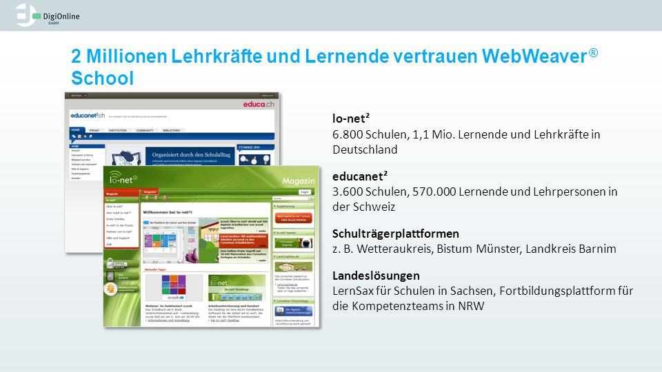 2 Millionen Lehrkräfte und Lernende vertrauen WebWeaver ® School