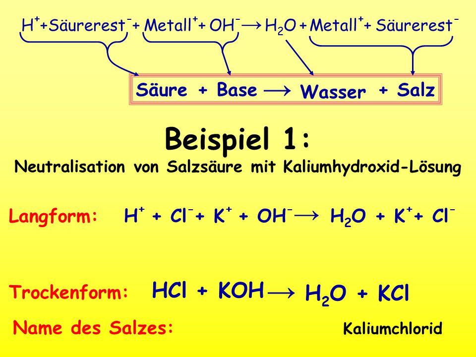 Beispiel 1: Neutralisation von Salzsäure mit Kaliumhydroxid-Lösung
