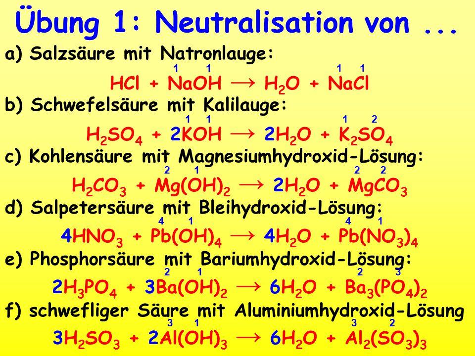 Übung 1: Neutralisation von ...
