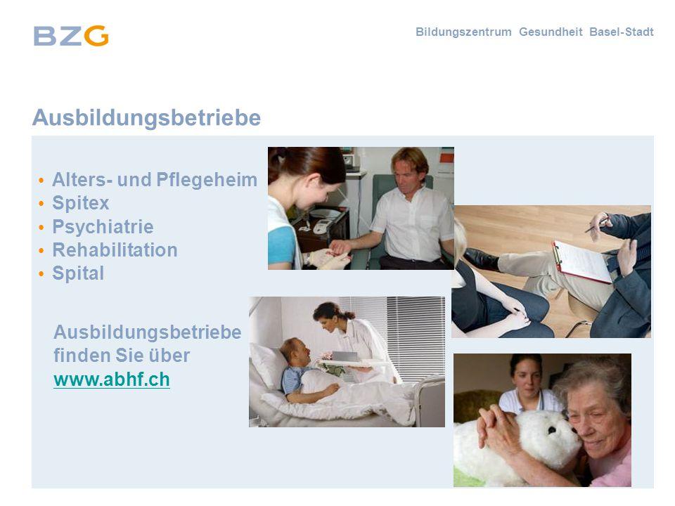 Ausbildungsbetriebe Alters- und Pflegeheim Spitex Psychiatrie