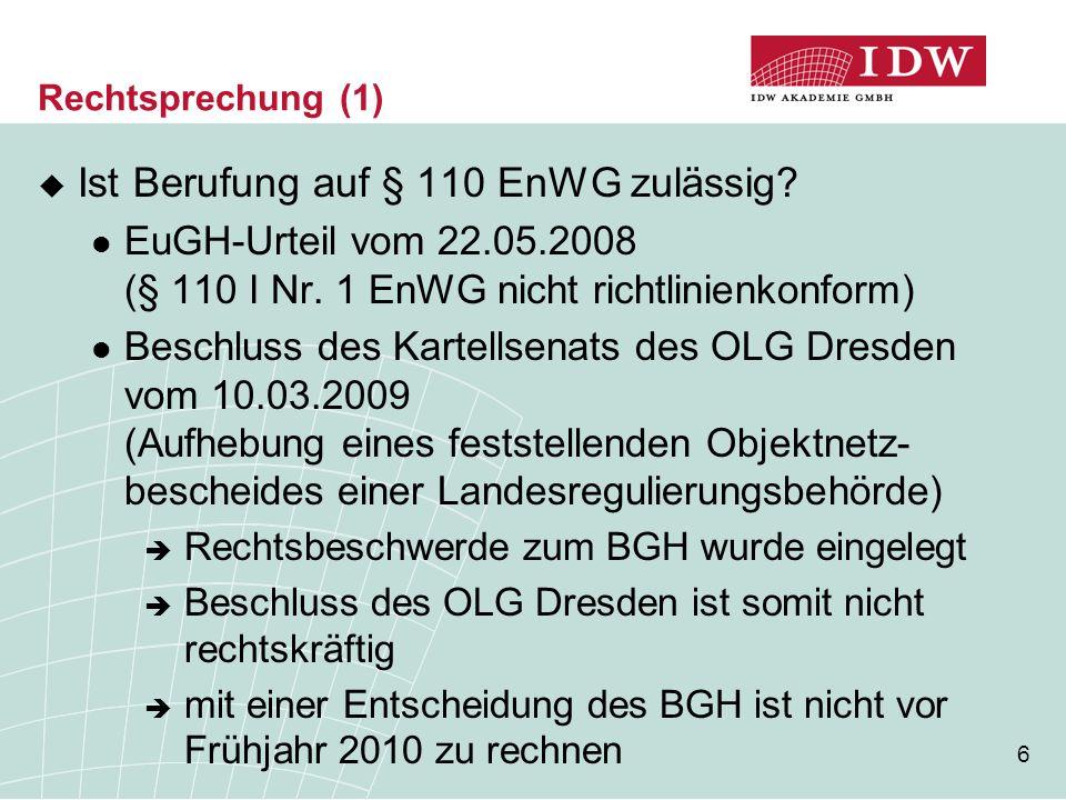 Ist Berufung auf § 110 EnWG zulässig