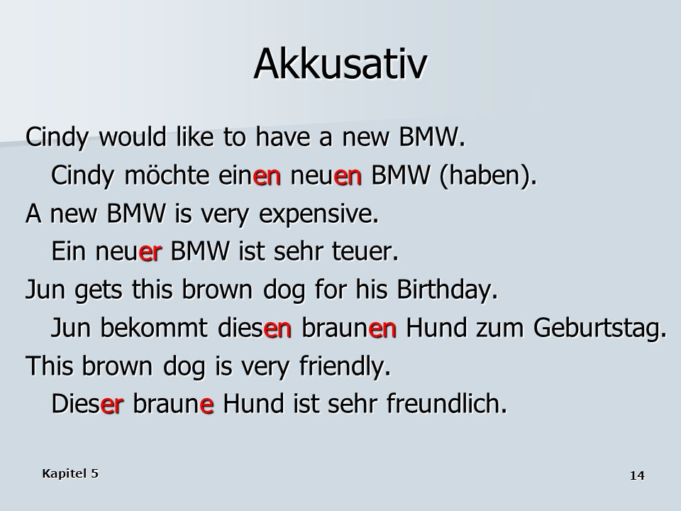 Akkusativ Cindy would like to have a new BMW.