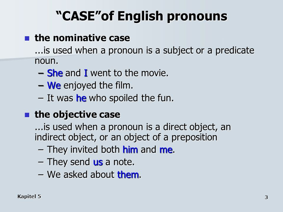 CASE of English pronouns