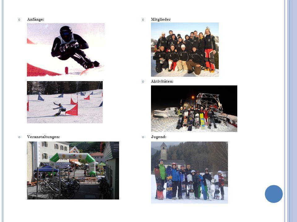 Anfänge: Veranstaltungen: Mitglieder Aktivitäten: Jugend: