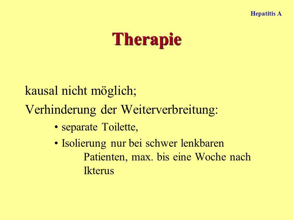 Therapie kausal nicht möglich; Verhinderung der Weiterverbreitung: