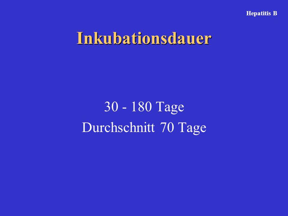 Hepatitis B Inkubationsdauer 30 - 180 Tage Durchschnitt 70 Tage