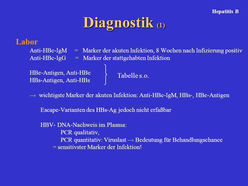 Diagnostik (1) Labor Tabelle s.o.