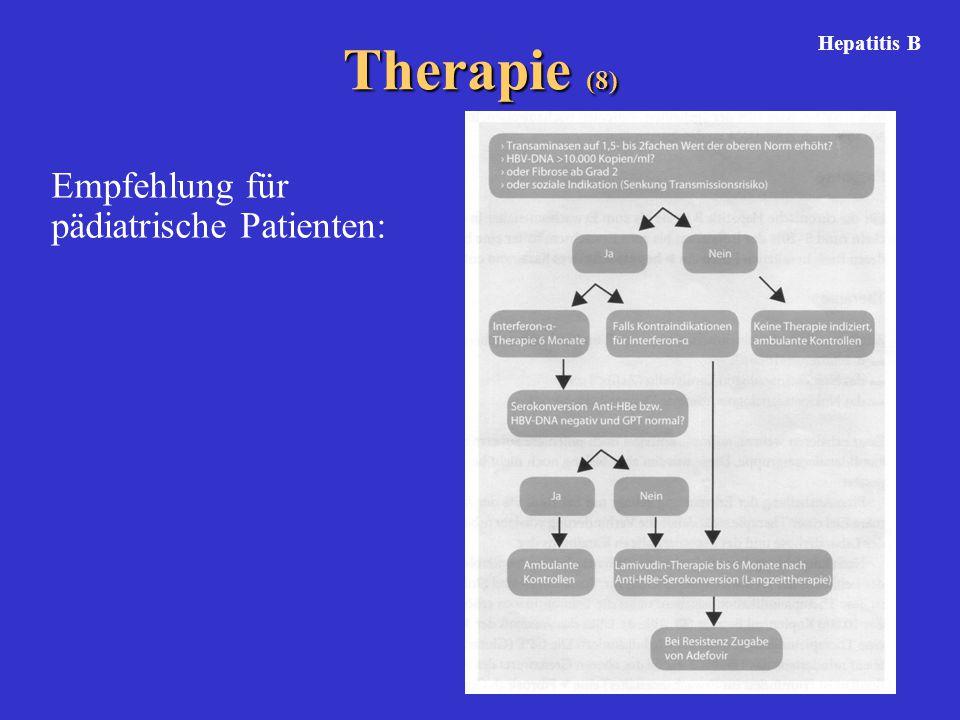 Therapie (8) Hepatitis B Empfehlung für pädiatrische Patienten: