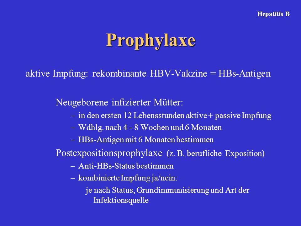 Prophylaxe aktive Impfung: rekombinante HBV-Vakzine = HBs-Antigen