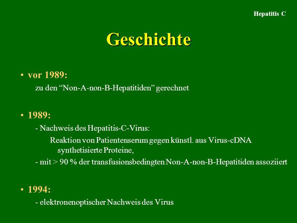 Hepatitis C Geschichte. vor 1989: zu den Non-A-non-B-Hepatitiden gerechnet. 1989: - Nachweis des Hepatitis-C-Virus: