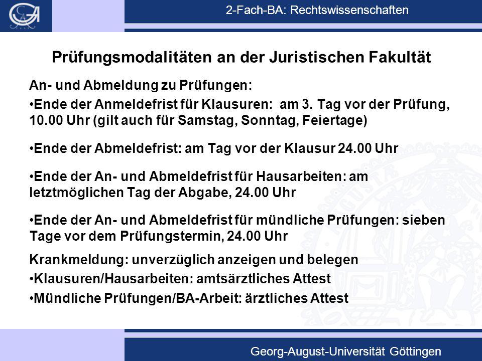 Prüfungsmodalitäten an der Juristischen Fakultät