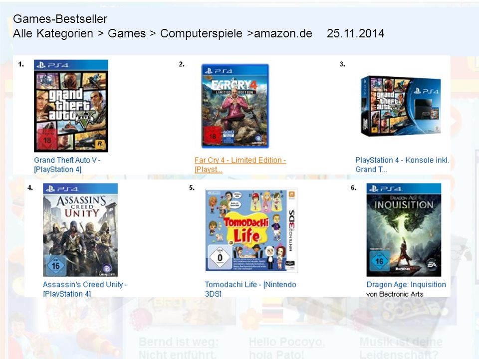 Games-Bestseller Alle Kategorien > Games > Computerspiele >amazon.de 25.11.2014