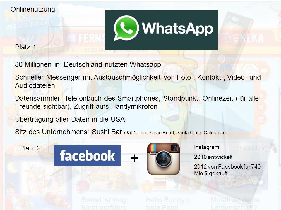 + Onlinenutzung Platz 1 30 Millionen in Deutschland nutzten Whatsapp