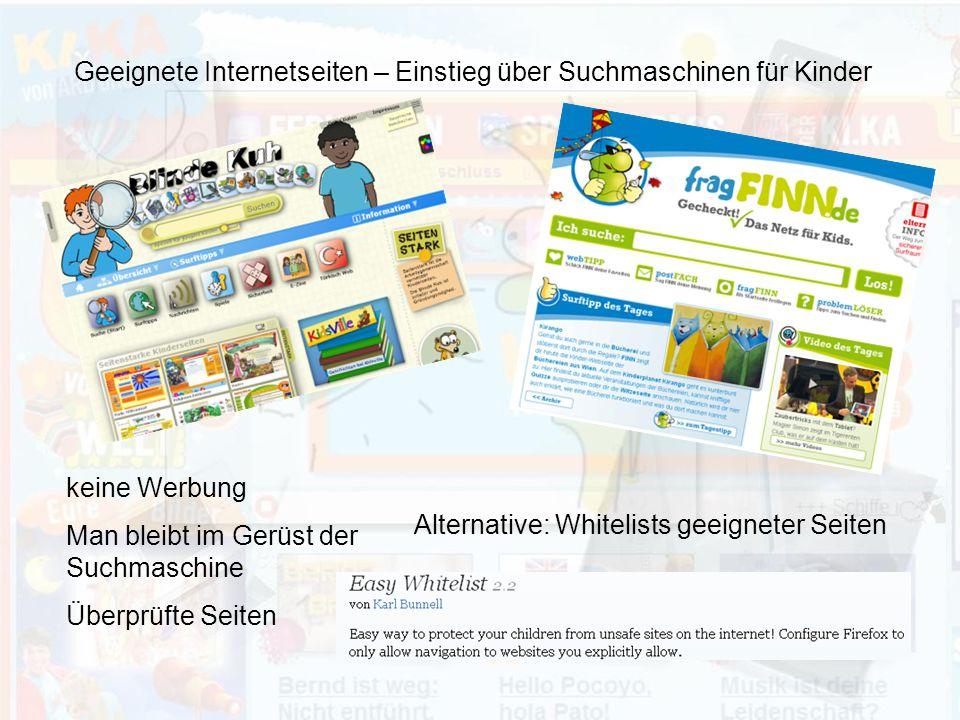 Geeignete Internetseiten – Einstieg über Suchmaschinen für Kinder