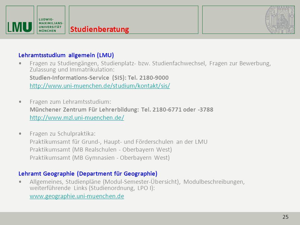 Studienberatung Lehramtsstudium allgemein (LMU)