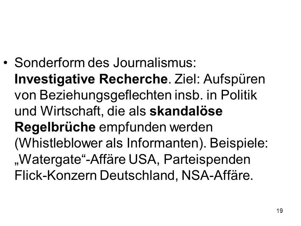 Sonderform des Journalismus: Investigative Recherche