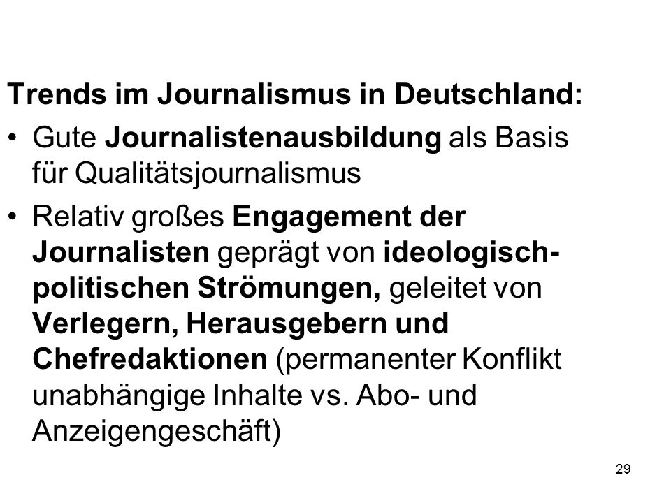 Trends im Journalismus in Deutschland:
