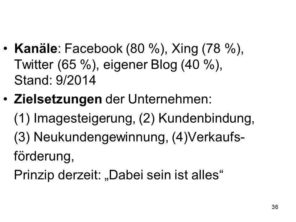 Kanäle: Facebook (80 %), Xing (78 %), Twitter (65 %), eigener Blog (40 %), Stand: 9/2014
