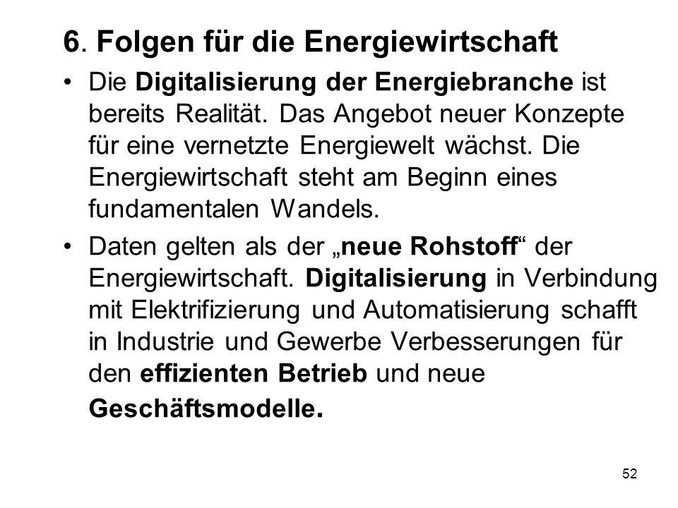 6. Folgen für die Energiewirtschaft