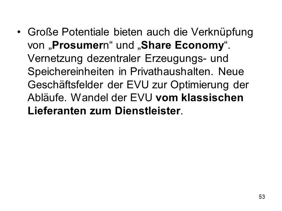 """Große Potentiale bieten auch die Verknüpfung von """"Prosumern und """"Share Economy ."""