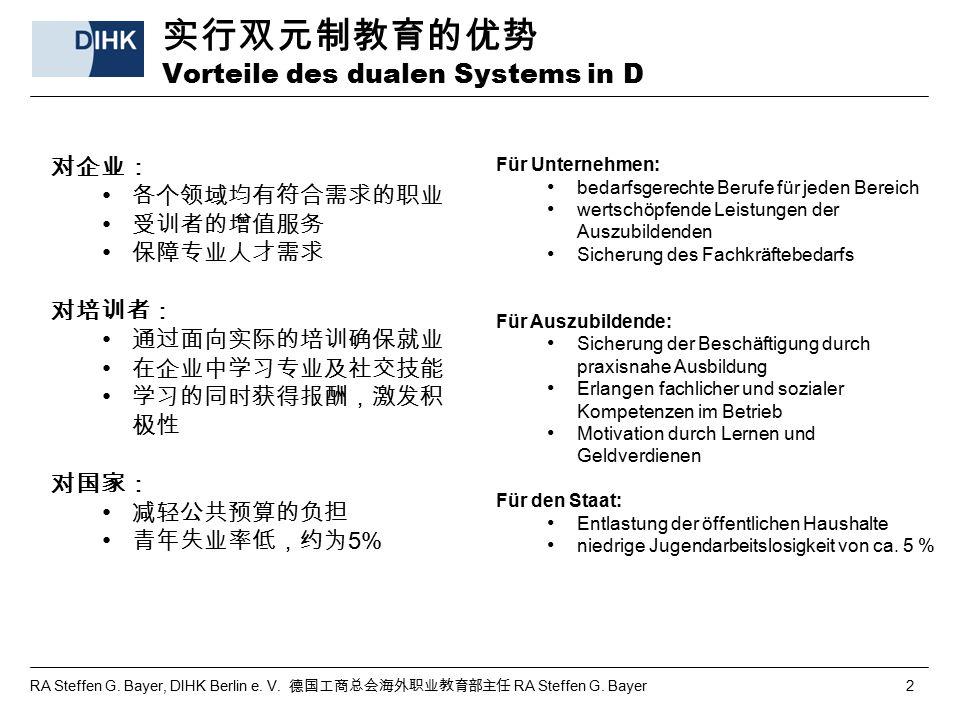 实行双元制教育的优势 Vorteile des dualen Systems in D
