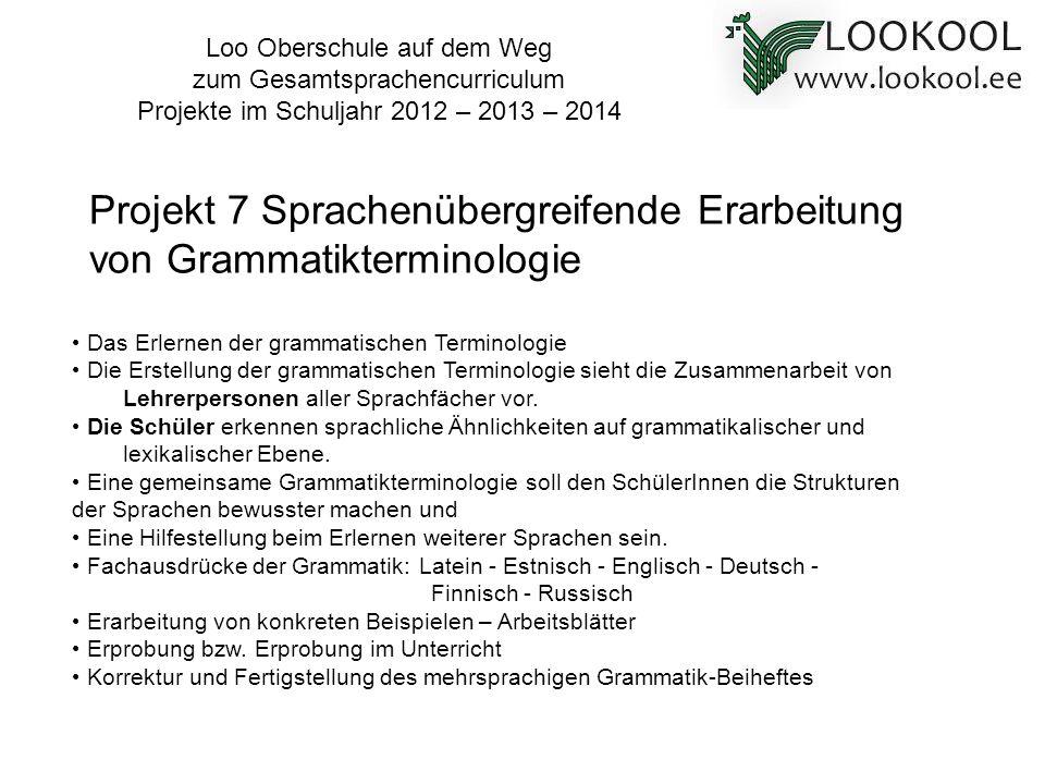 Projekt 7 Sprachenübergreifende Erarbeitung von Grammatikterminologie
