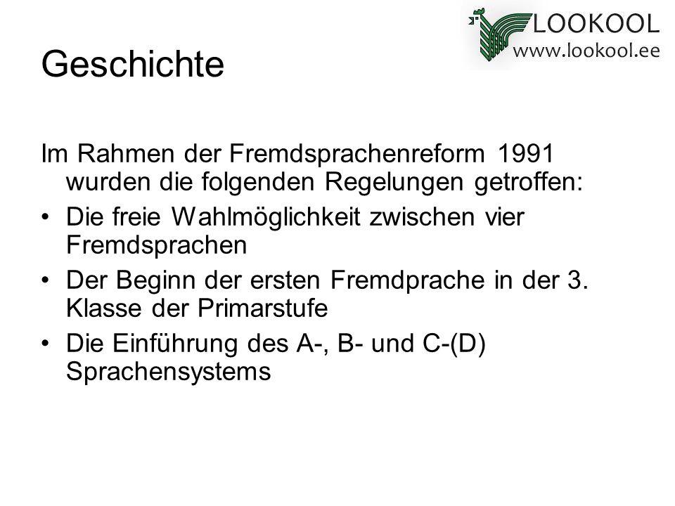 Geschichte Im Rahmen der Fremdsprachenreform 1991 wurden die folgenden Regelungen getroffen: Die freie Wahlmöglichkeit zwischen vier Fremdsprachen.