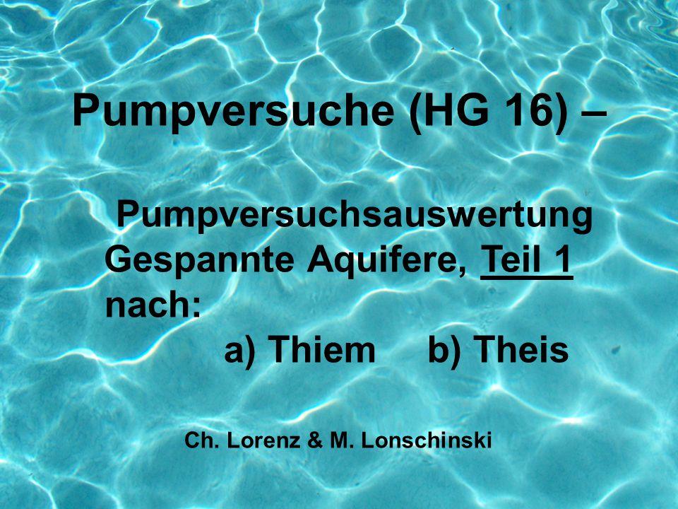 Pumpversuche (HG 16) – Pumpversuchsauswertung