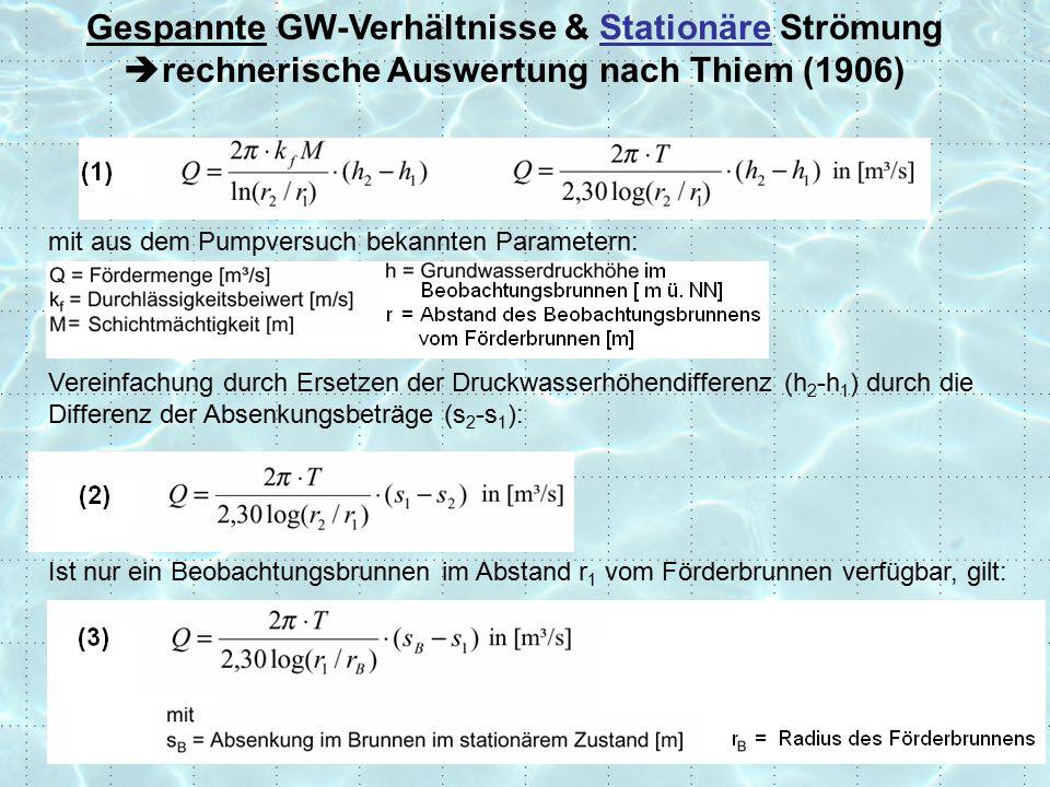 Gespannte GW-Verhältnisse & Stationäre Strömung rechnerische Auswertung nach Thiem (1906)