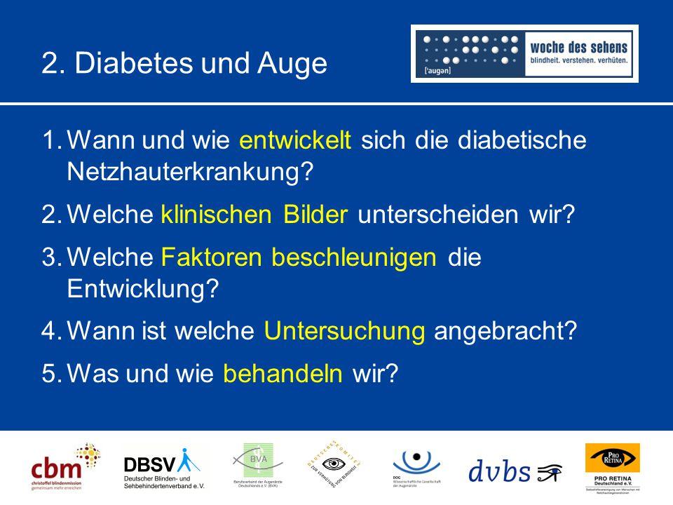 2. Diabetes und Auge Wann und wie entwickelt sich die diabetische Netzhauterkrankung Welche klinischen Bilder unterscheiden wir
