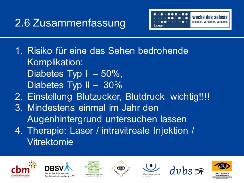 2.6 Zusammenfassung Risiko für eine das Sehen bedrohende Komplikation: Diabetes Typ I – 50%, Diabetes Typ II – 30%