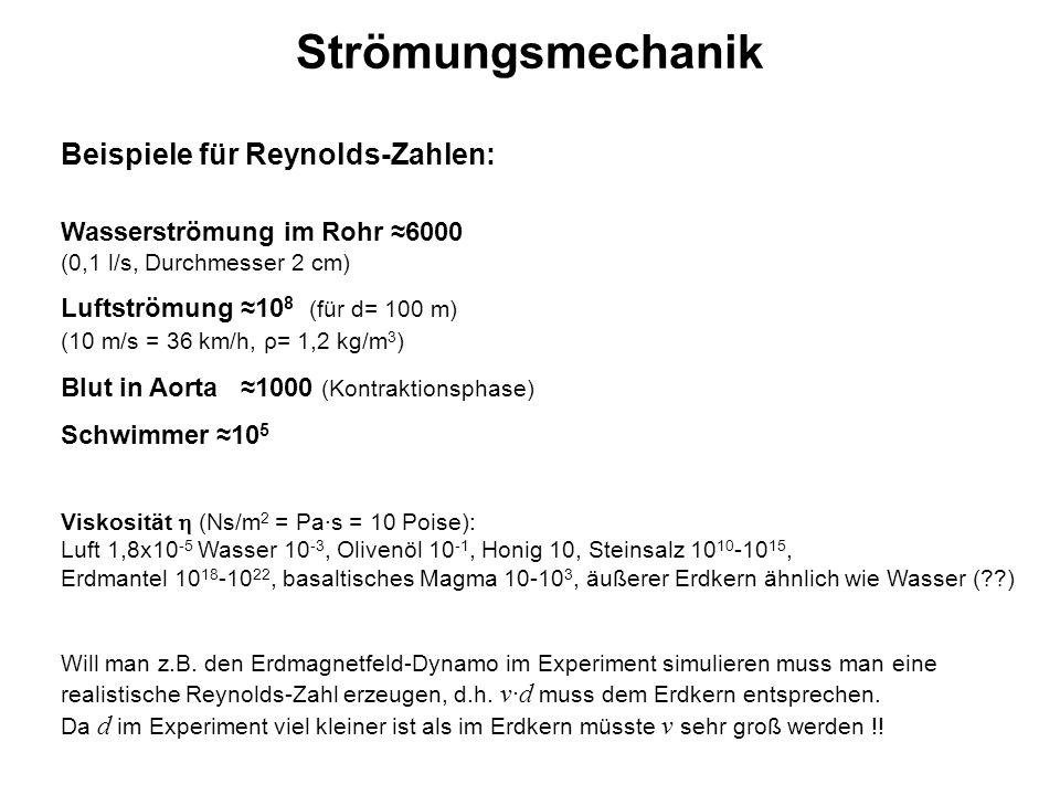 Strömungsmechanik Beispiele für Reynolds-Zahlen: