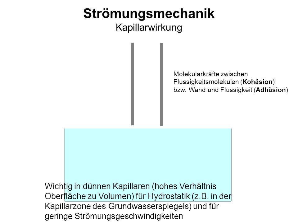 Strömungsmechanik Kapillarwirkung