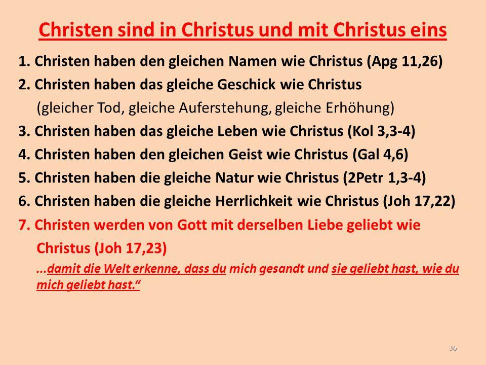 Christen sind in Christus und mit Christus eins