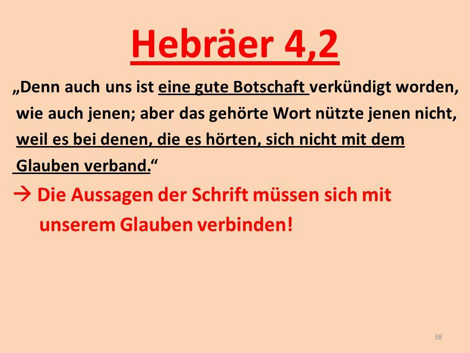 Hebräer 4,2  Die Aussagen der Schrift müssen sich mit