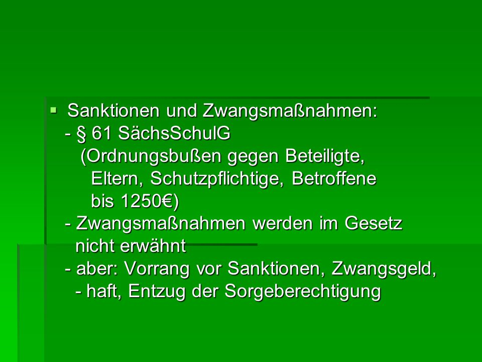 Sanktionen und Zwangsmaßnahmen: