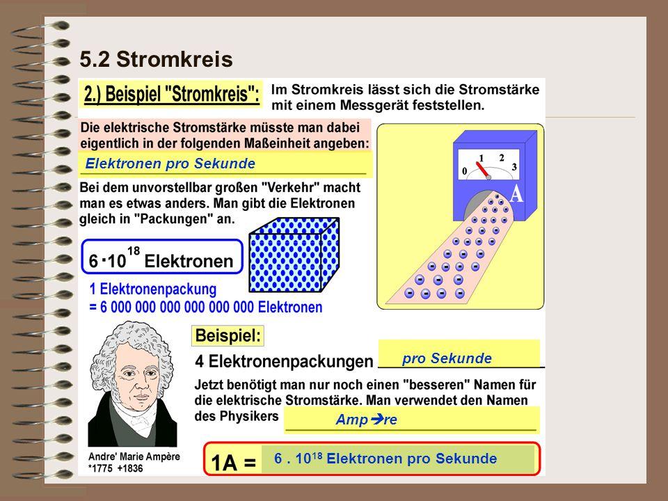 5.2 Stromkreis Elektronen pro Sekunde pro Sekunde Ampre