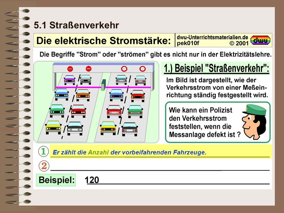 5.1 Straßenverkehr Er zählt die Anzahl der vorbeifahrenden Fahrzeuge.
