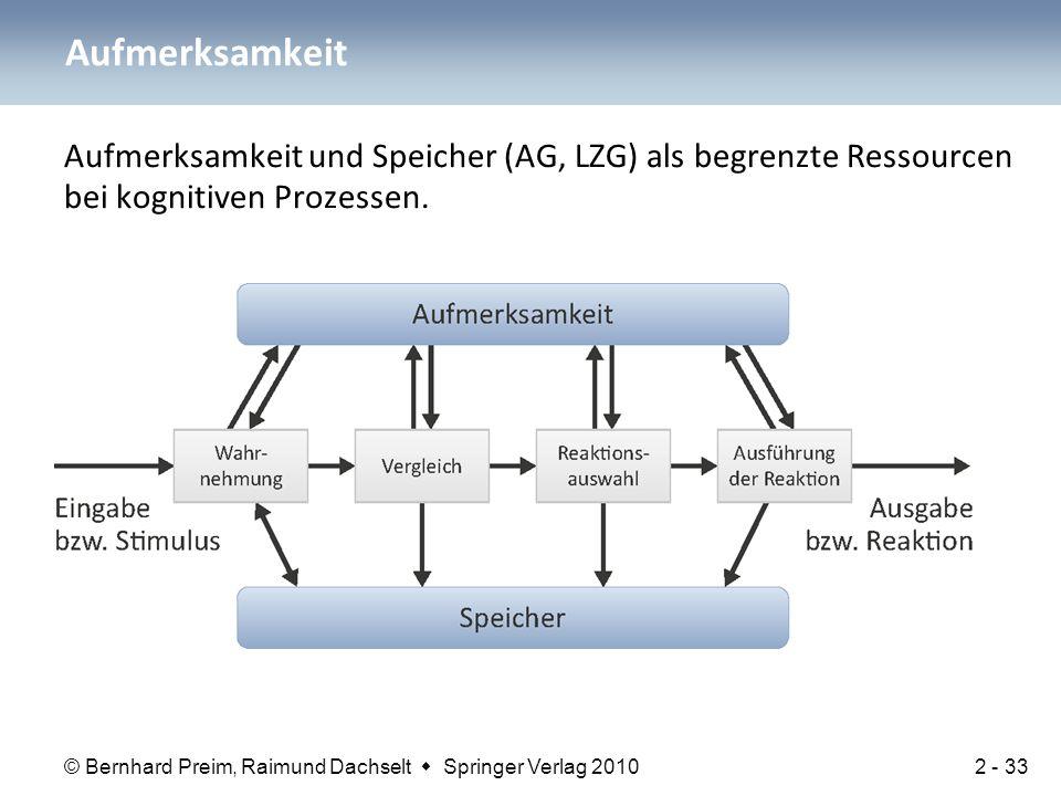 Aufmerksamkeit Aufmerksamkeit und Speicher (AG, LZG) als begrenzte Ressourcen bei kognitiven Prozessen.