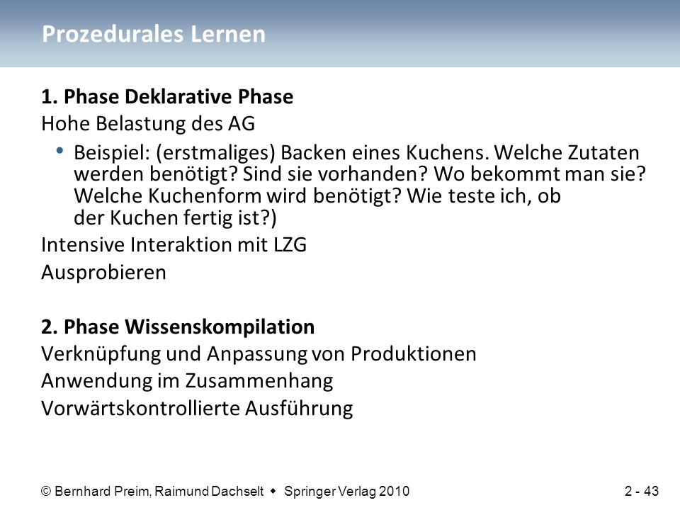 Prozedurales Lernen 1. Phase Deklarative Phase Hohe Belastung des AG