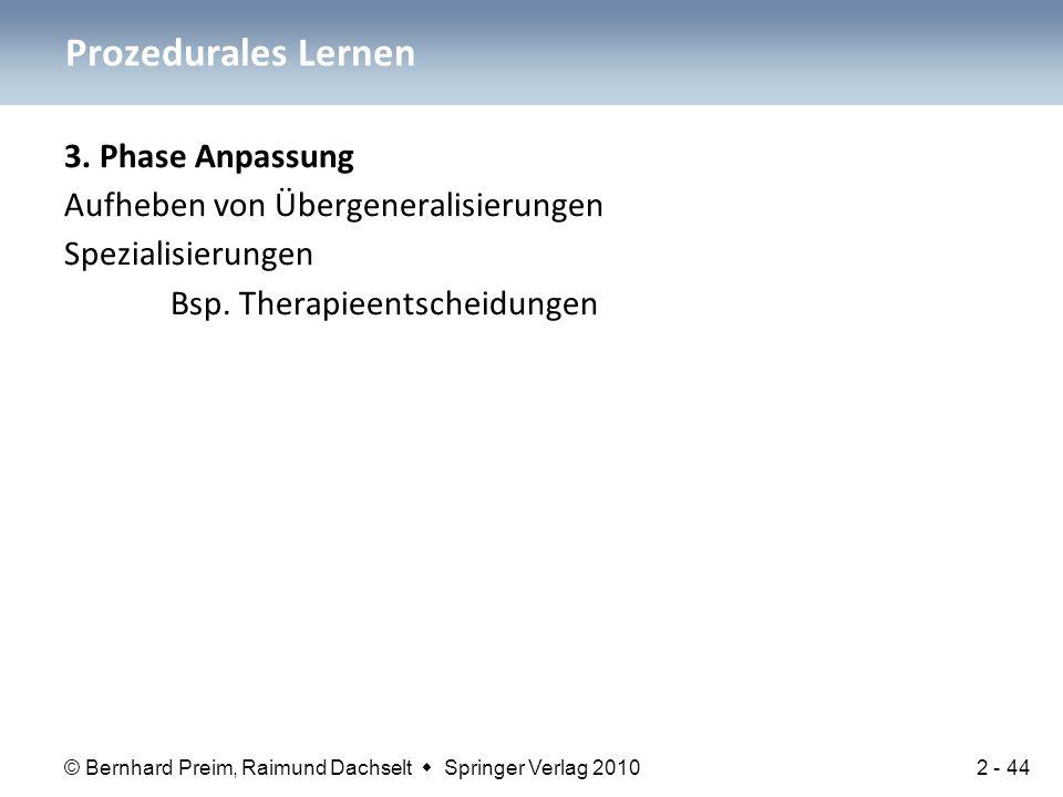 Prozedurales Lernen 3. Phase Anpassung Aufheben von Übergeneralisierungen Spezialisierungen Bsp.