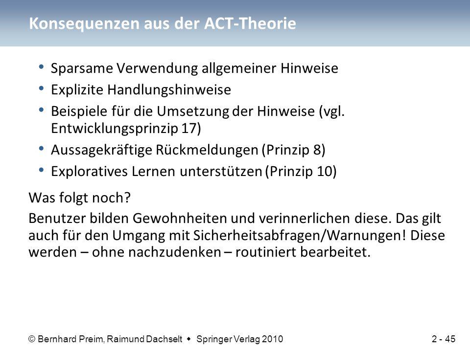 Konsequenzen aus der ACT-Theorie
