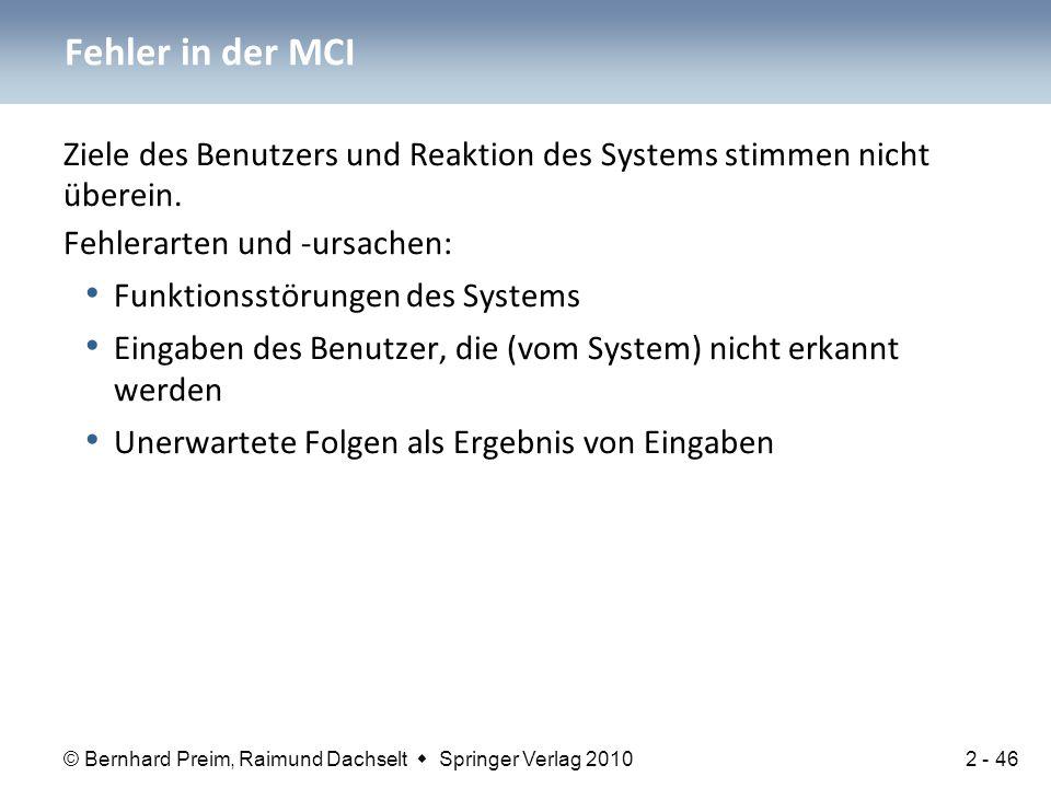 Fehler in der MCI Ziele des Benutzers und Reaktion des Systems stimmen nicht überein. Fehlerarten und -ursachen: