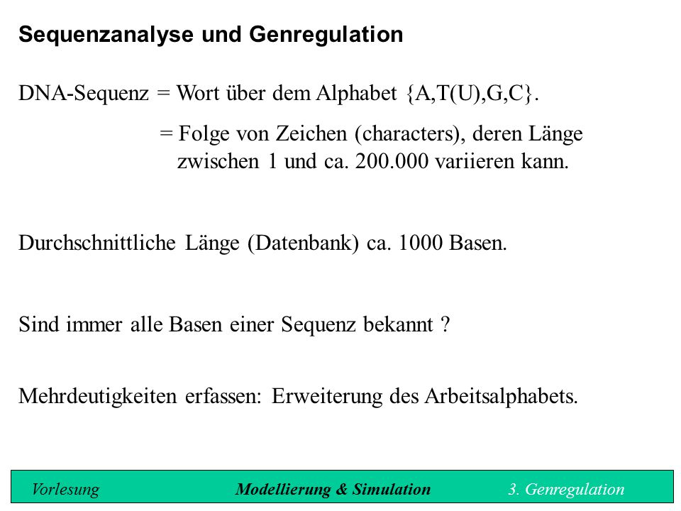 Sequenzanalyse und Genregulation