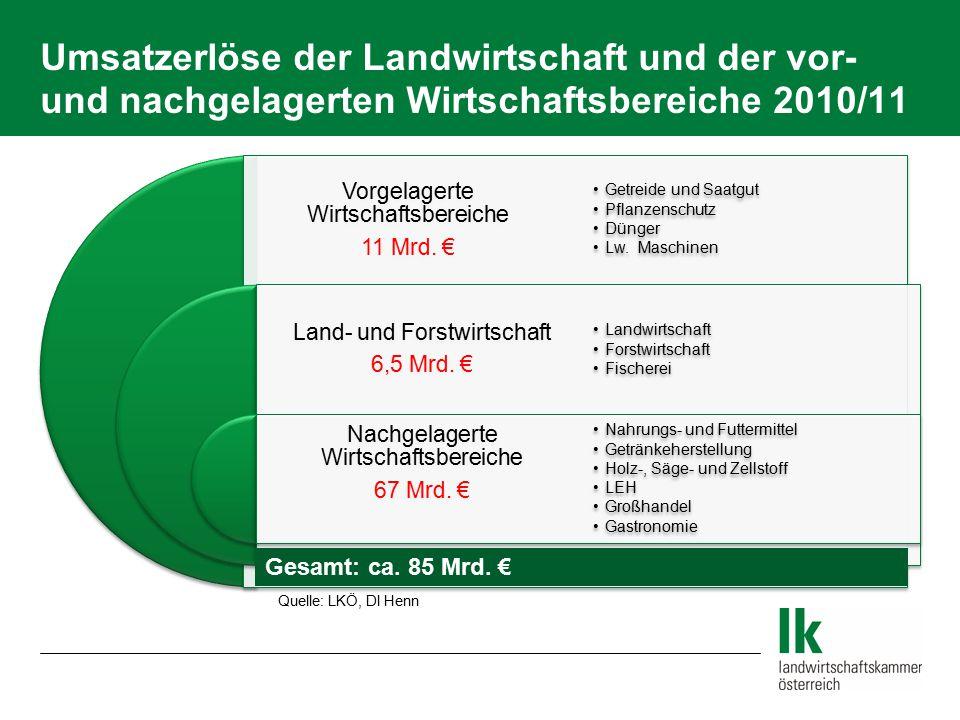 Umsatzerlöse der Landwirtschaft und der vor- und nachgelagerten Wirtschaftsbereiche 2010/11