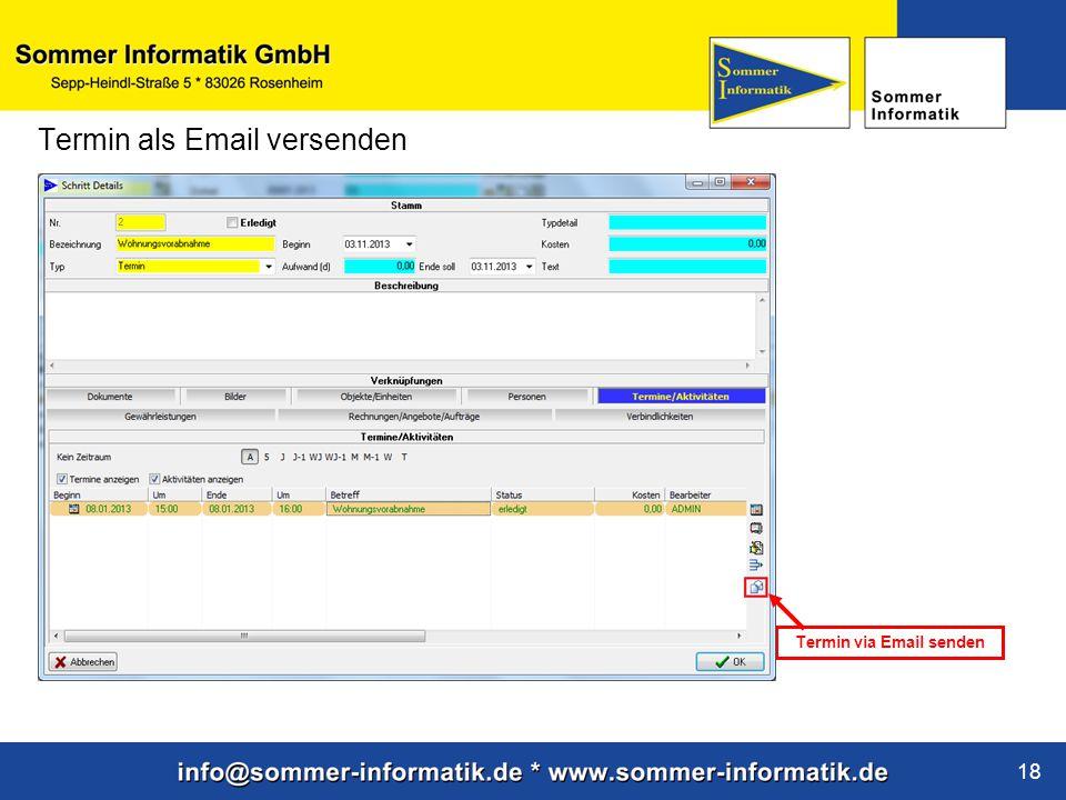Termin via Email senden