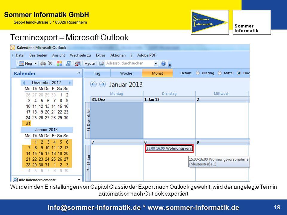 Terminexport – Microsoft Outlook