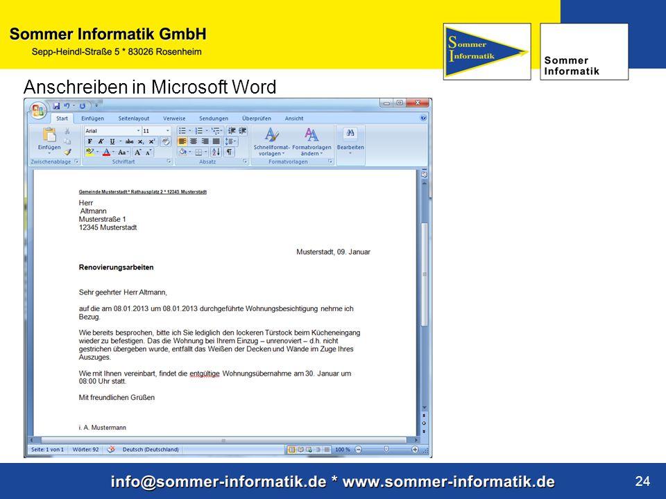 Anschreiben in Microsoft Word