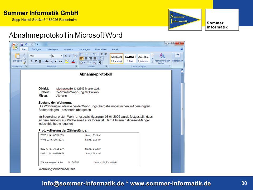Abnahmeprotokoll in Microsoft Word
